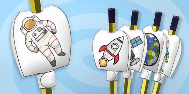 Space Themed Pencil Toppers - paper, pencil, tops, puppet, party