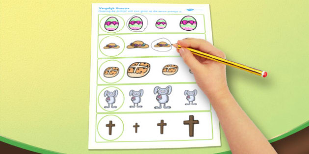 Afrikaans Easter Size Matching Worksheets - afrikaans, easter