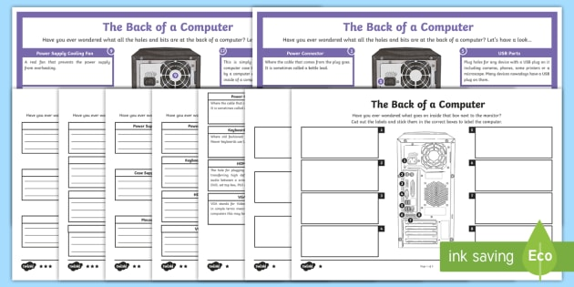 The Back of a Computer Display Poster - worksheet, computing, ICT, IP address, Internet, port, plug, leads, cables,