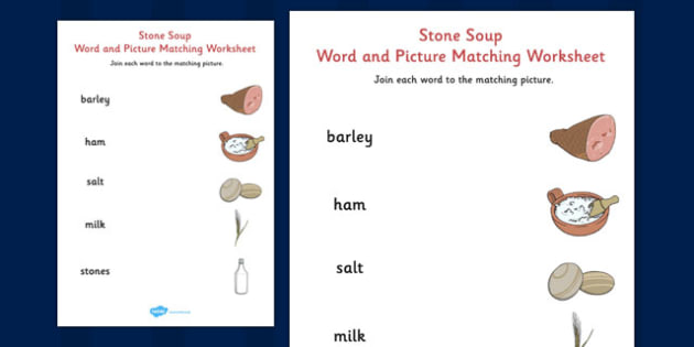 Stone Soup Word and Picture Match - stone soup, word, picture, match