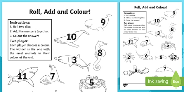 Under the Sea Roll and Colour Worksheets - sea, dice games, games