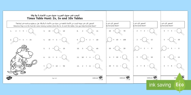 Times Tables Missing Numbers Activity Sheet Arabic/English - KS1, maths, tables, counting in twos, counting in fives, counting in tens, tables, multiplication, t