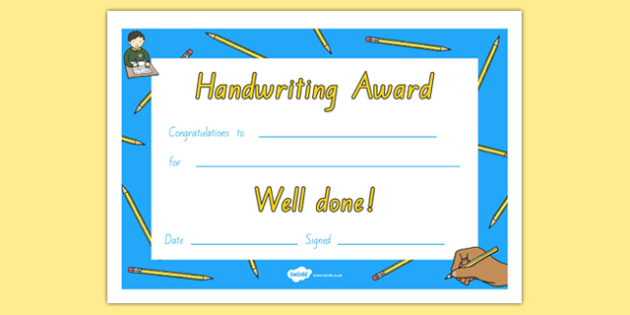 Handwriting Certificate NZ Font - nz, new zealand, Handwriting award, Literacy award, good handwriting, reward, award, certificate, medal, rewards, school reward