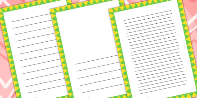 Green And Yellow Zig Zag Page Borders - writing templates, write