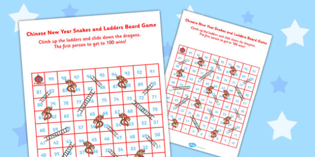 Chinese New Year Themed Snakes and Ladders Board Game 1-100 - 100