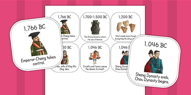 The Shang Dynasty of Ancient China Timeline Ordering Activity