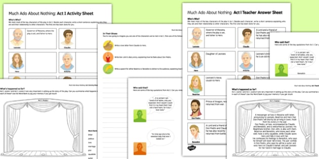 Much Ado About Nothing Act I Activity Sheet and Answers - much ado about nothing, activity, answers, worksheet