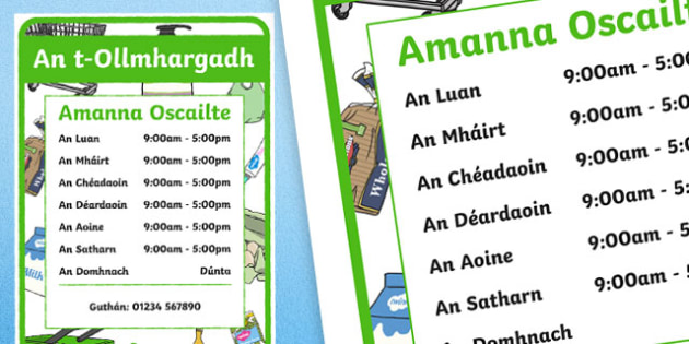 An t-Ollmhargadh The Supermarket Role Play Opening Times Irish Gaeilge A4 Display Poster