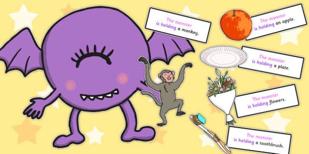 Monster Holding Sentence Activity - monster, sentence, activity