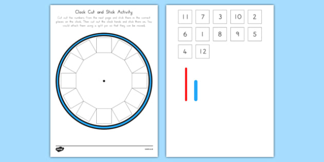 Blank Clock Cut Out Cut and Stick Activity - australia, blank, clock, cut out, cut and stick, activity