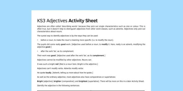 KS3 Adjectives Activity Sheet - ks3, adjectives, activity, sheet, worksheet