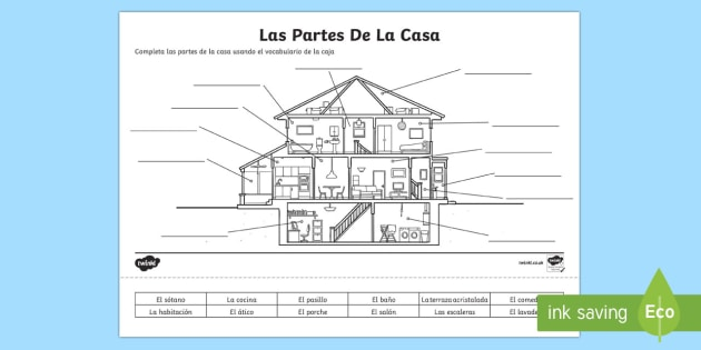 Spanish Parts Of A House Activity Sheet , worksheet
