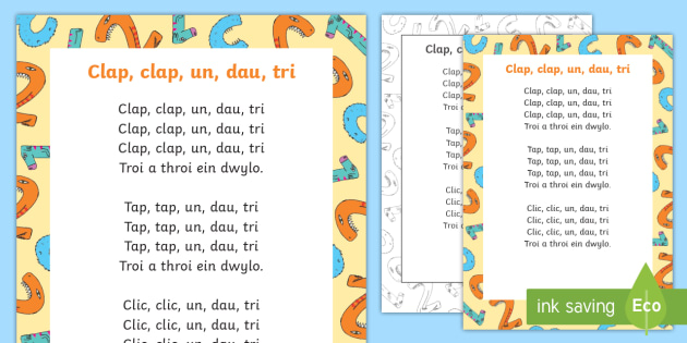 Clap Clap One, Two, Three Welsh Second Language Song Lyrics - Welsh - Welsh,  Welsh Second Language, Songs and Rhymes, clap clap, one, two, three,Welsh