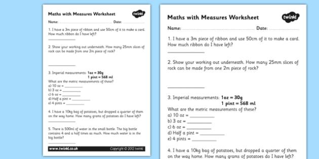 Maths Measures Problems Worksheet - measurements, measures, maths with measures, measurements worksheet, measurements question sheet, ks2 numeracy