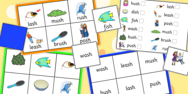 Final 'Sh' Sound Bingo - final sh, sound, bingo, game, activity