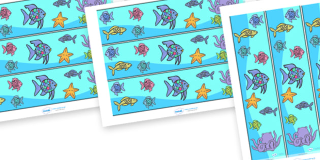 Display Borders to Support Teaching on The Rainbow Fish - The Rainbow Fish, Marcus Pfister, resources, Rainbow Fish, PSHE, PSE, octopus, shimmering scales, starfish, friendship, under the sea, sea, story, story book, story book resources, story seque