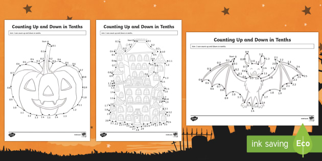 Halloween Counting Up and Down in Tenths Activity Sheet