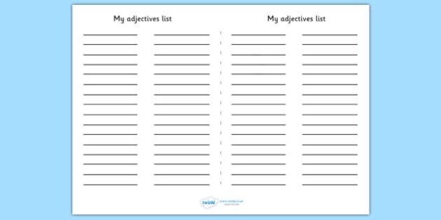 My Adjectives List - my adjectives, adjective, list, listing, words, type of words, type, words, literacy, KS2