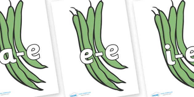 Modifying E Letters on Green Beans - Modifying E, letters, modify, Phase 5, Phase five, alternative spellings for phonemes, DfES letters and Sounds
