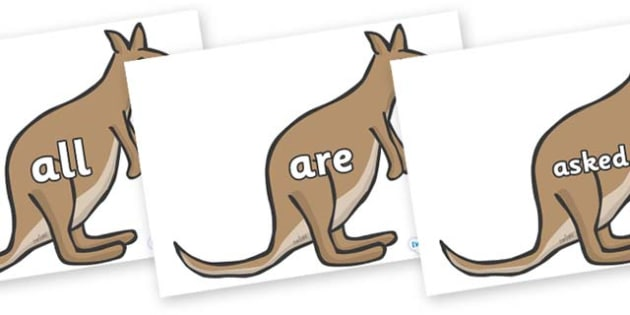 Tricky Words on Kangaroos - Tricky words, DfES Letters and Sounds, Letters and sounds, display, words