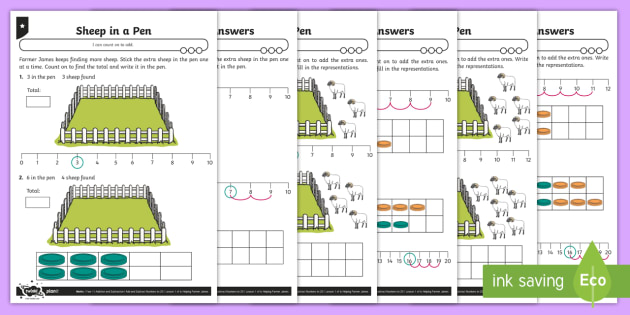 Counting On Differentiated Activity Sheets - Addition and Subtraction, count on, how many more, break count, find the total, add, ten frame, numb