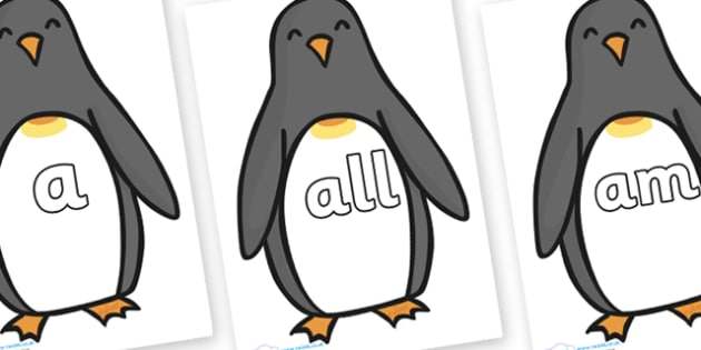 Foundation Stage 2 Keywords on Penguins - FS2, CLL, keywords, Communication language and literacy,  Display, Key words, high frequency words, foundation stage literacy, DfES Letters and Sounds, Letters and Sounds, spelling