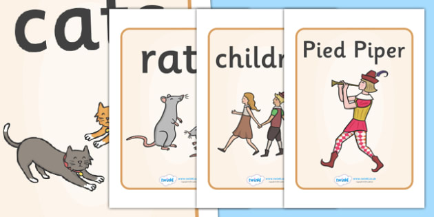 The Pied Piper Display Posters - Pied Piper, story, children, rats, Hamelin, pipes, poster, sign, display, cats, cave, villagers, mountain, town, money, story book