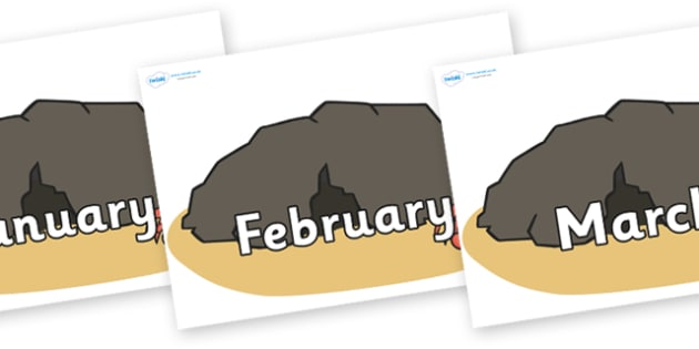 Months of the Year on Caves - Months of the Year, Months poster, Months display, display, poster, frieze, Months, month, January, February, March, April, May, June, July, August, September