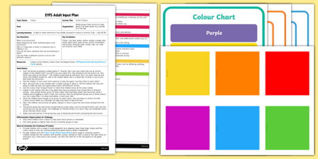 EYFS Action Colours Adult Input Plan and Resource Pack