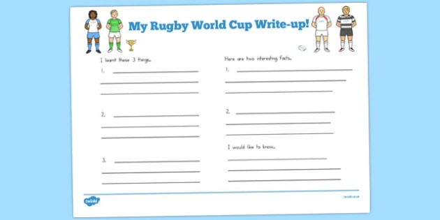 Rugby World Cup Write Up Worksheets - australia, write up, world cup