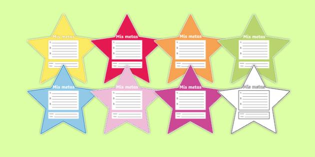My Goals Pupil Target Stars Spanish - spanish, my goals, pupil, target, stars, achievement