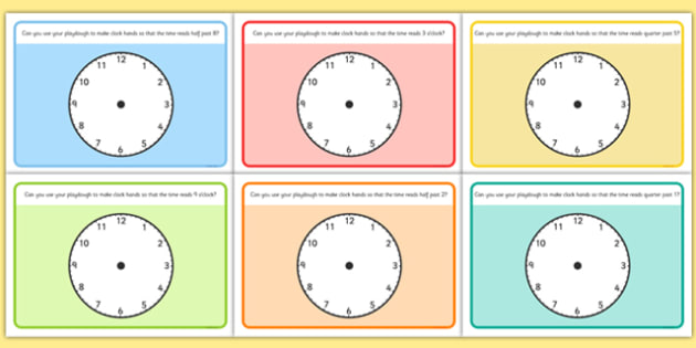 O'Clock Half Past and Quarter Past Time Playdough Mat - mats, time, o'clock, half past, quarter past, playdough, clock