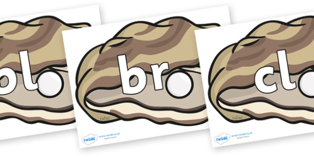 Initial Letter Blends on Oysters - Initial Letters, initial letter, letter blend, letter blends, consonant, consonants, digraph, trigraph, literacy, alphabet, letters, foundation stage literacy