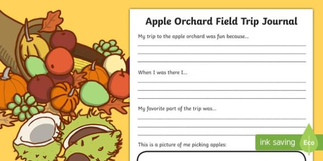 Apple Orchard Field Trip Journal Writing Activity Sheet