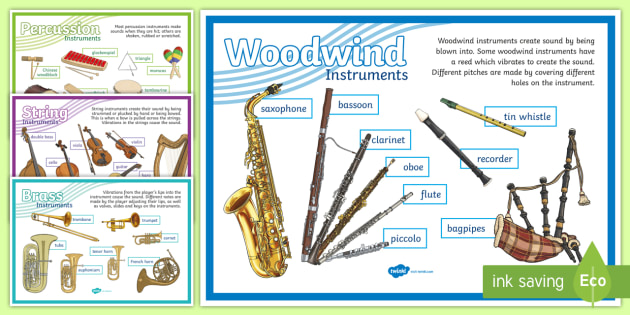 Musical Instrument Families Display Posters - Expressive Arts Resources, music, display, poster, musical instruments, brass, string, percussion, w