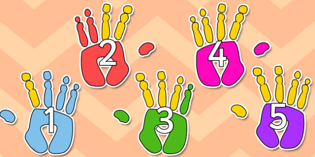 1 to 10 on Hands - 1-10, hands, display, counting, numbers, maths