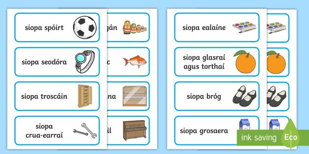 Siopaí Word Cards Gaeilge - Gaeilge - Siopadóireacht, Irish, shopping, siopa, siopaí,,Irish