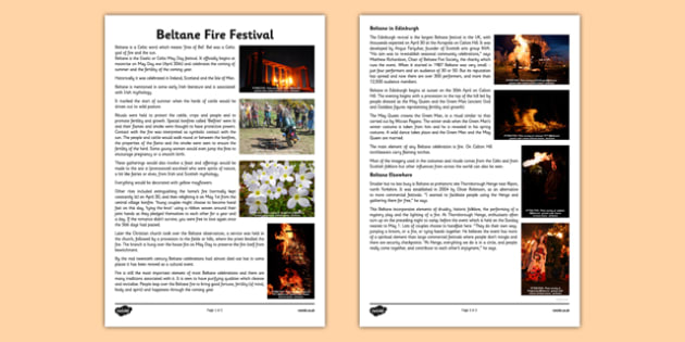 Beltane Information Sheet -CfE, Social Studies, History, Festivals, Beltane, event, Scotland, Scottish, curriculum, excellence