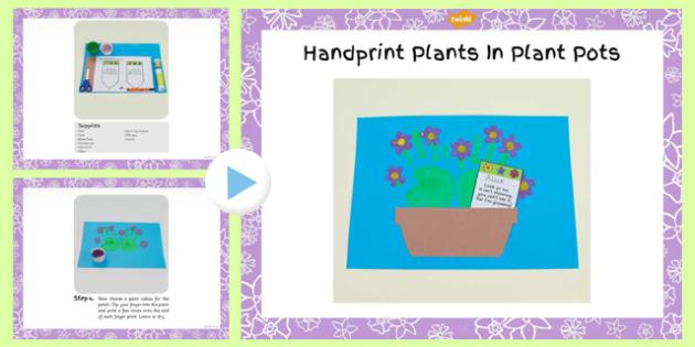 Handprint Plants in Plant Pot Craft Instructions PowerPoint