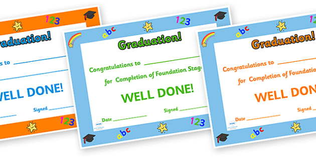 Graduation Certificates - KS1 End of Year Graduation