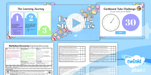 PlanIt - DT UKS2 - Marbulous Structures Lesson 1: Exploring Structures Lesson Pack - stronger, stiffer