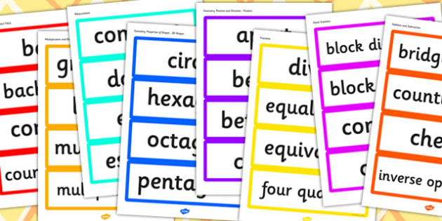 Year 2 2014 Curriculum Maths Vocabulary Cards Resource Pack