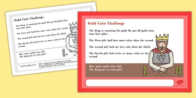 A4 Gold Coin Maths Challenge Poster - challenge, poster, maths