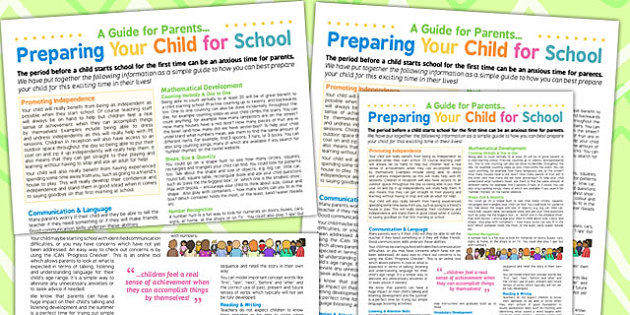 Preparing Your Child For School A Guide For Parents Poster