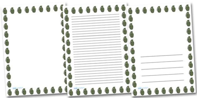 Hand Grenade Portrait Page Borders- Portrait Page Borders - Page border, border, writing template, writing aid, writing frame, a4 border, template, templates, landscape