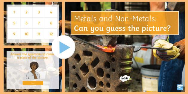 Metals and Non-Metals Quiz PowerPoint - PowerPoint Quiz, Metal, Non-metal, Density, Conductor, Insulator, Charge