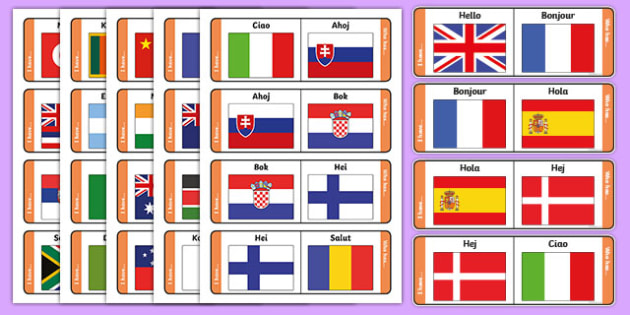 Hello Around the World Loop Cards