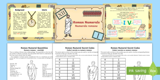 Roman Numerals Differentiated Lesson Teaching Pack English/Romanian