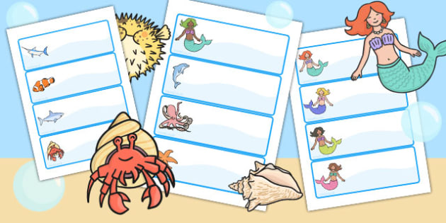Mermaid Themed Drawer Peg Name Labels - name tags, signs, labels