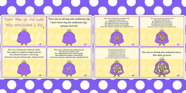 There Was an Old Lady Who Swallowed a Fly Sequencing Cards - card